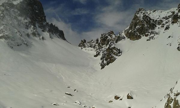La parte alta de Arpette. Riesgo 4 de avalanchas. Mucho miedo en la bajada que hubo que gestionar con mucho tiento.